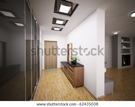 Interior modern entrance hall apartment d stock illustration