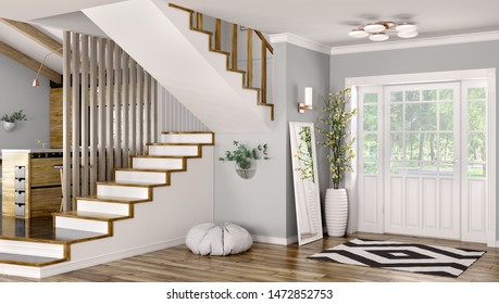 Interior of modern entrance hall with door and staircase 3d rendering