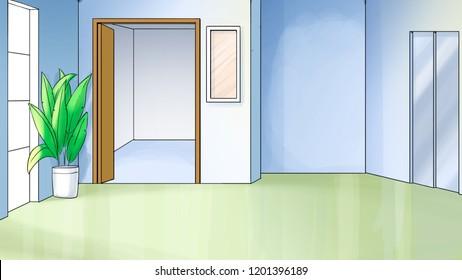 Interior of modern hall with televator doors