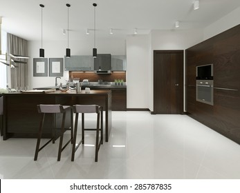 Interior of modern kitchen with bar and bar stools. Kitchen furniture wood with metal inserts in brown and gray tones. 3d render.