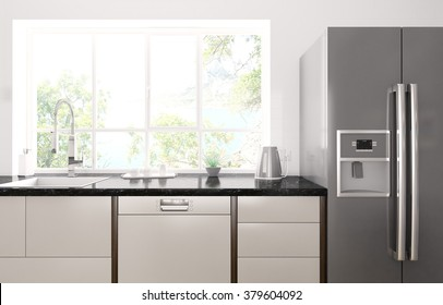 Interior of modern kitchen with black granite counter, refrigerator 3d render