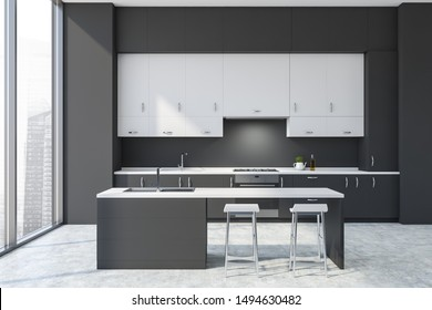 Interior of modern kitchen with dark gray walls, concrete floor, gray countertops, white cupboards and gray bar with stools. 3d rendering