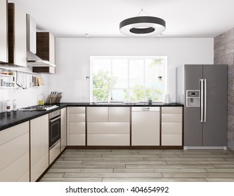 Interior of modern kitchen, fridge,dishwasher,oven 3d rendering