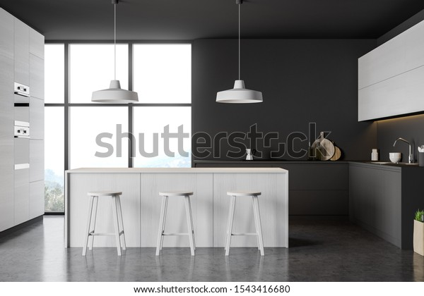 Interior Modern Kitchen Gray Dark Wooden Stock Illustration 1543416680