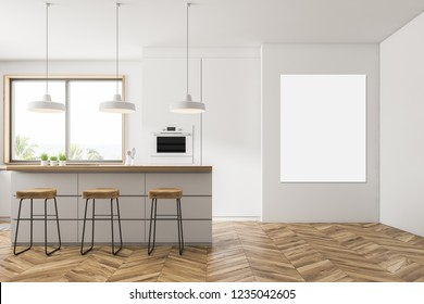 Interior of modern kitchen with white walls, wooden floor, small window, white countertops with built in appliances, bar with stools and an oven. Vertical mock up poster 3d rendering