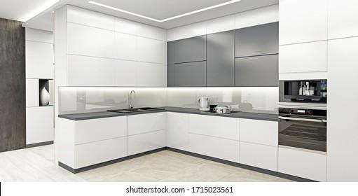 Interior of modern light kitchen 3D-rendering