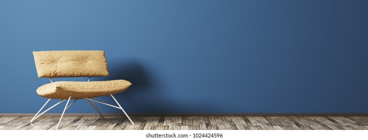 Interior of modern living room with armchair against blue wall 3d rendering