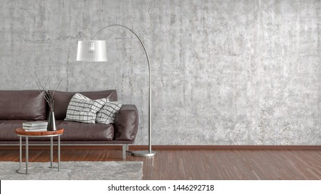 Interior of modern living room with gray concrete wall and wooden flooring. Copy space on the wall. Brown leather couch, floor lamp, coffee table with vase and books, armchair. 3d illustration