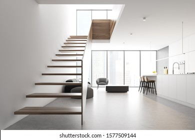 Interior of modern living room and kitchen with comfortable sofa, armchair, coffee table, white countertops and bar and staircase to the second floor. 3d rendering