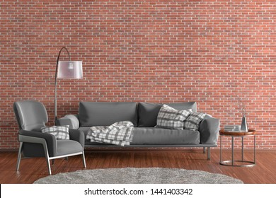 Interior of modern living room with red brick wall and wooden flooring. Gray fabric couch, floor lamp, coffee table with vase and books and fur rug. 3d illustration