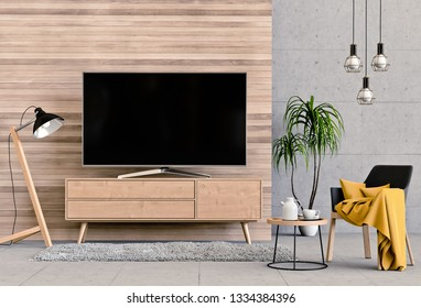 interior modern living room with smart tv, cabinet, sofa and decorations. 3d render