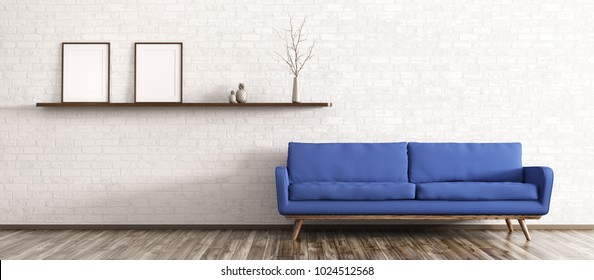 Interior of modern living room with sofa and shelf panorama 3d rendering
