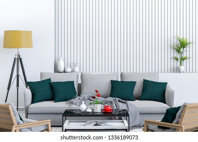 interior modern living room with sofa, chair,  plant, lamp, decoration, 3D render