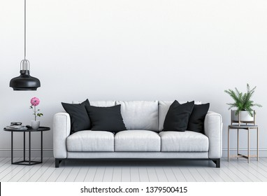 interior modern living room with sofa,  plant, lamp, decoration, 3D render