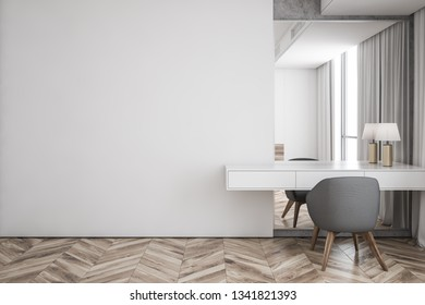 Interior of modern living room with white walls, wooden floor, makeup table with lamp, mirror and gray chair. Mock up wall. 3d rendering