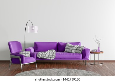 Interior of modern living room with white wall and wooden flooring. Fuchsia fabric couch, floor lamp, coffee table with vase and books and fur rug. 3d illustration