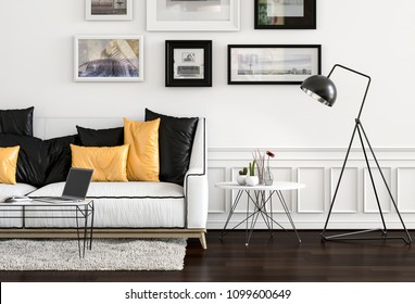 interior modern living room workspace with floor lamp, sofa and laptop computer. 3D rendering
