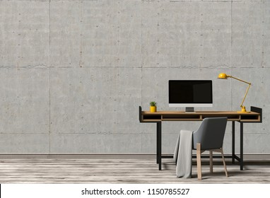interior modern living room workspace with desk and desktop computer. 3D rendering
