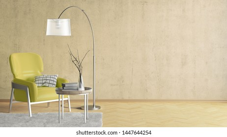 Interior of modern living room with yellow concrete wall and wooden flooring. Copy space on the wall. Yellow leather armchair, floor lamp, coffee table with vase and books, fur carpet. 3d illustration