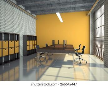Interior of modern office 3D rendering