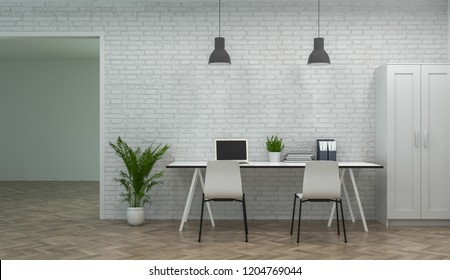 interior modern office co working environments 3d rendering Business Online Work at home meeting rooms