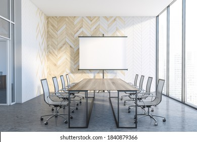 Interior of modern office meeting room with white and wooden walls, concrete floor and long conference table. Mock up presentation screen. 3d rendering
