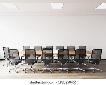 Interior Modern Office Meeting Room Wall Mockup - 3d Rendering, 3d Illustration