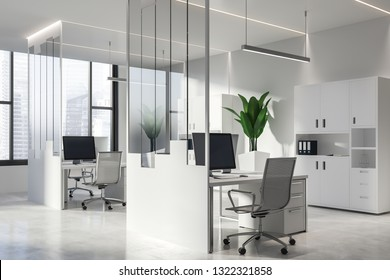 Interior of modern office with white and glass walls, concrete floor, large windows, white computer tables with metal chairs and bookcases with folders. 3d rendering