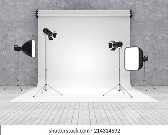 Interior of Modern Photo Studio with Equipment