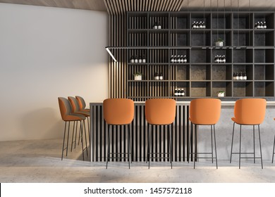 Interior of modern pub with white and concrete walls, concrete floor, comfortable bar counter with orange stools and shelves with wine and beer. 3d rendering