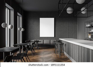 Interior of modern restaurant with dark gray walls, wooden floor, square tables, bar counter and sofa in the background. Vertical mock up poster. 3d rendering