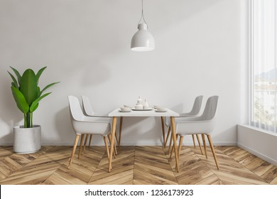 Interior of modern restaurant with white walls, wooden floor and white and wooden tables standing near white and wooden chairs. 3d rendering