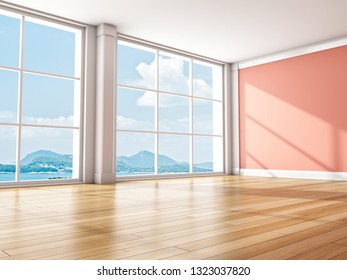 Interior modern room with large window. 3D illustration.