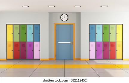 Interior of a modern school with colorful student lockers and door of a classroom - 3D Rendering