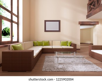 The interior is modern in style with a large rattan sofa and green cushions. 3D rendering