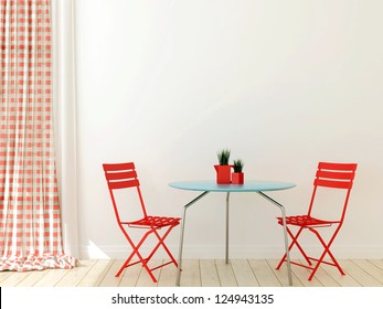 Interior in a modern style with two red chairs and blue table