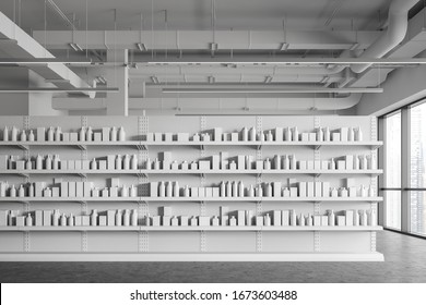 Interior of modern supermarket or warehouse with white shelves with products in blank boxes and bottles. Concept of retail and storage. 3d rendering