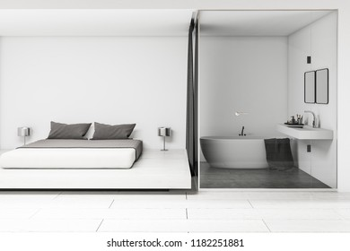 Interior of modern white bathroom with sink with two square mirrors and a bathtub. Scandinavian bedroom with double bed on the right. 3d rendering mock up