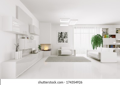 Interior of modern white living room 3d render