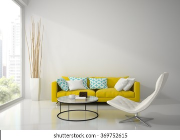 Interior of modern white room with yellow sofa  3D rendering