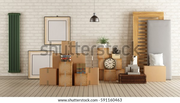 Interior moving house with cardboard boxes,bed and other objects - 3d rendering