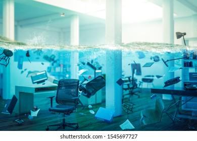 Inneneinrichtung eines vollständig überfluteten Büros, Objekte, die im Wasser schwimmen und selektiver Fokus auf einen Stuhl. 3D-Bild-Rendering. Konzept der Probleme am Arbeitsplatz.