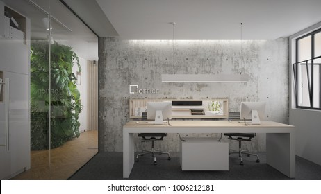 Interior of an office in industrial style - 3 d render