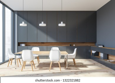 Interior of office meeting room with gray walls, wooden floor, panoramic window, wooden table with white chairs and gray bookcases. 3d rendering