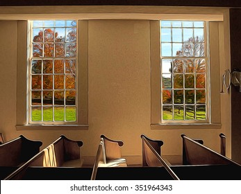 interior of an old fashioned church with windows with view of countryside in fall