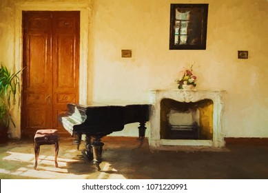 Interior old mansion- artwork illustration. Oil painting on canvas- 