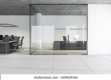 Interior of open space office with white walls, tiled floor, gray computer table with chairs around it and CEO office with glass walls to the right. 3d rendering