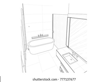 interior outline sketch drawing perspective office of a space bathroom 3d renderings