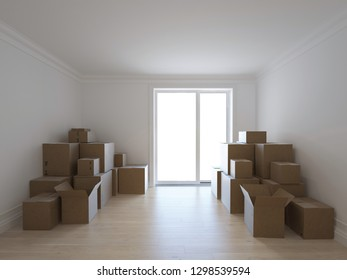 Interior with packed cardboard boxes for moving to a new place. Concept of relocation. 3d image
