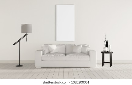 Interior for paintings. Picture on the wall. White picture for your design. Presentation picture on a light background. Background for the picture.